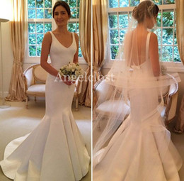 $enCountryForm.capitalKeyWord Australia - Cheap Stain Mermaid Wedding Dresses 2019 V Neck Backless Peplum Sweep Train Modest Bridal Jumpsuits Gowns Robe De Mariée Customized Cheap