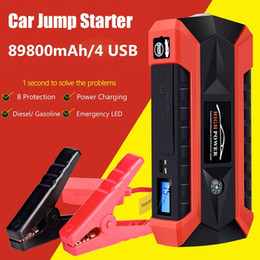 Car Emergency Start Australia - 89800mAh 4USB 12V 600A LED Car Jump Starter Portable Emergency Charger Battery Power Bank Car Starting Device Waterproof