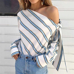 Wholesale women lace tops blouse for sale – plus size Summer Women New Striped Loose Blouse Fashion Lady Off Shoulder Lace Up Shirts Female Elegant Tops Blouses Long Sleeve Chic