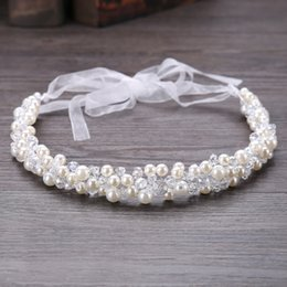 chain hairs NZ - New Crystal Beads Ribbon Bridal Hairbands Women Pearl Headbands Rhinestone Beaded Head Piece Wedding Head Chain Hair Jewelry