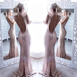 HigH collar sequin prom dress online shopping - 2019 Rose Gold Backless Mermaid Sequins Long Prom Dresses High Neck Full Length Elegant Vintage Long Maid Of Honor Bridesmaid Gowns BA4773