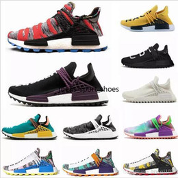 spring fall canvas shoes Australia - 2019 human race Hu trail x pharrell williams men running shoes Solar Pack Afro Holi Blank Canvas mens trainers women sports sneaker
