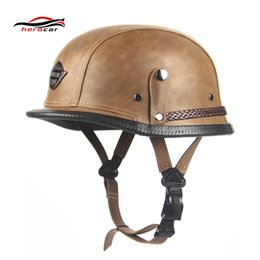 german motorcycle helmet Australia - New Retro Vintage Motorcycle Helmet Scooter Cruiser Touring Chopper Half Helmet German Style Synthetic Leather Moto DOT