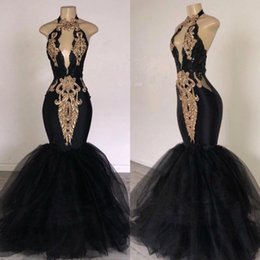 backless halter v tulle dress NZ - Sexy Black Keyhole Halter Evening Dresses Golden Embroidery Deep V-Back Mermaid Pageant Party Gowns Tulle Tiered Sweep Train Prom Dress Long