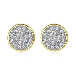 tiny gold studs Australia - New Fashion Tiny Zircon Stud Earrings Silver Gold Colors Mini Disc Round CZ Zircon Stud Earrings For Women Minimalist Design Party Jewelry