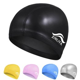 Men Hairs Australia - Fashion Waterproof Silicone Swim Cap Hat for Men Women Long Hair Ear Protection Swimming Caps