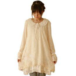 $enCountryForm.capitalKeyWord UK - 2019 Japanese Kawaii White Lace Dress Cute Girl Peter Pan Collar Long Sleeve Sweet Vintage Gowns Dresses 2019 Lace Dresses