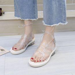 7a92665680 Women's low heel sandals gladiator summer transparent open toe jelly shoes  ladies retro Roman lace strap beach sandals K0116