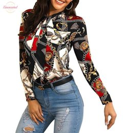 model clothes lady UK - Womens Clothing Explosion Models 2020 Fashion Printing Ladies Shirt Neckline With Long Sleeved Casual Shirt Blouse