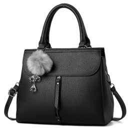 Ladies Fur Handbags Australia - good quality New Fashion Fur Ball Ornaments Medium Handbag Women Brand Shoulder Messenger Crossbody Bags Ladies Leather Casual Tote Sac