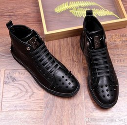 mens ankle boot lace up Australia - New Fashion High Top Casual Shoes For Men Genuine Leather Rivet Ankle Boots Lace Up Black Color Mens Prom Flats Shoes