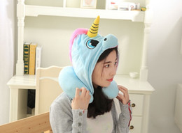 Discount travel neck pillows for airplanes - U Shaped Neck Pillow with Unicorn Hat Travel Pillow Soft Plush Nap Pillow Suitable for Airplane Car Office