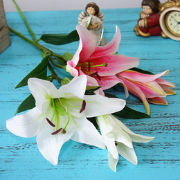 Fake Lilies Flowers NZ - 5pcs lot Luxury 2 Heads Large Artificial Lily Flowers Branch For Home Table Decor Wedding Festival Decoration Fake Silk Flores
