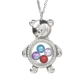 $enCountryForm.capitalKeyWord Australia - Magnetic Open Glass Locket Rhinestone Bear Charms Pearl Cage Pendant Living Memory Floating Accessories Necklace for Women Charms Making
