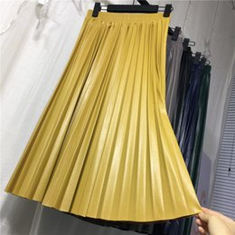 $enCountryForm.capitalKeyWord NZ - Women New Pu Leather Pleated Skirt Half-length High-waisted Slim Organ Leather Skirt Pleated Long Skirt Female