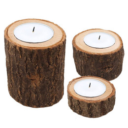 holder stick UK - Wooden Candlestick Candle Holder Table Decoration Plant Flower Plot Creative Candle Holders Home Decoration Multi Size
