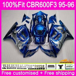 1996 cbr green black fairing Australia - Injection For HONDA CBR 600F3 CBR600FS CBR 600 FS F3 1995 1996 77HM.23 Blue silvery 100%Fit CBR600RR CBR600F3 CBR600 F3 95 96 OEM Fairings