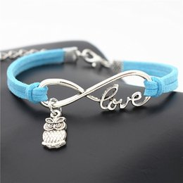 $enCountryForm.capitalKeyWord Australia - 2019 New Fashion Infinity Love Cute Animal Owls Pendant Bracelet Bangles Bohemian Blue Leather Suede Rope Channel Jewelry Gift For Women Men