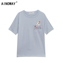 0c64854af1 Summer 2018 Fashion New Women Harajuku Kawaii T Shirt Top Striped Pocket  Rabbit Embroidery Female Cotton Bunny Shirt Oversize Y190123