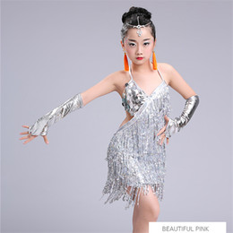 sequin fringe dance Australia - child kid children professional latin dance dress for girls ballroom dancing dresses for kids red sequin fringe salsa tassel