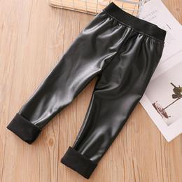 $enCountryForm.capitalKeyWord Australia - Kids Baby Girls Slim Leather Pants 2019 Autumn Winter Thin Section Plus Velvet Leggings For Girls Trousers Children's Clothing