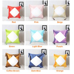 blank cotton cushion covers NZ - 40*40cm Thermal Transfer Pillowcase Blank Sublimation Pillow Cushion Cover Heat Printing DIY Satin Pillow Case for Home Decoration A09