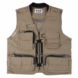 Wholesale photographers vest jacket for sale - Group buy Hip Hop Men Multi Pocket Classic Waistcoat Male Sleeveless Unloading Solid Coat Work Vest Photographer Tactical Masculino Jacket