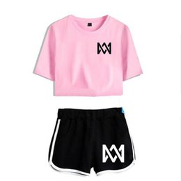 lavender eyes UK - Marcus and Martinus Summer Women's Suit Crop Top and Shorts Track Suit Women Tracksuit Casual Two Pieces Sets Outfits Sweatsuit