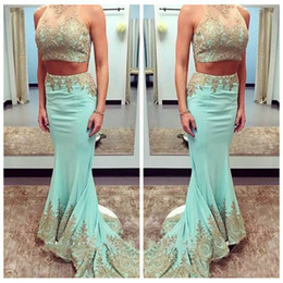 Images Dress Slim NZ - 2019 Sheer Jewel Neck Slim Two Piece Mermaid Prom Dresses With Gold Lace Appliques Custom Vestidos De Evening Party Gowns Beading