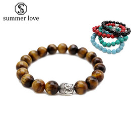 Buddha Jewelry For Women NZ - Handmade 10MM Tiger Eye Stone Buddha Head Charm Bracelet for Women Men Elastic Nature Stone Pray Beads Couple Bracelet Fashion Jewelry Gift