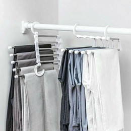 $enCountryForm.capitalKeyWord Australia - 5pcs Stainless Steel Pants Rack Clip Multi-functional Clothes Drying Rack Anti-skid Pants Storage Rack For Household Supplies