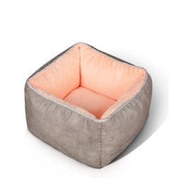 small house puppies Australia - Breathable Soft Velvet Pet Dog Beds Warm Deep Sleep Nest Pad Puppy Kennel House Mats Cat Bed Square Basket For Small Medium Dogs