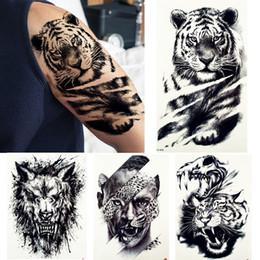 $enCountryForm.capitalKeyWord NZ - Big Black Tiger Tattoos Fake Men Wolf Leopard Tatoos Waterproof Large Beast Monster Body Arm Legs Tattoos Temporary Paper Cover