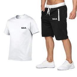 tracksuit summer men Australia - BALR Summer Shirt + Shorts Mens Tracksuit Men Short Sleeves Pullover With Casual Jogger Pants Suits Homme Sportsuit