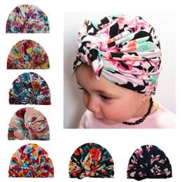 infant turbans 2019 - Baby Hats Floral Print rabbit Ear Caps Ears Cover Hat Turban Knot Head Wraps Infant Kids India Hats Beanie KKA6945 cheap