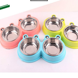 $enCountryForm.capitalKeyWord Australia - Summer new dog stainless steel cartoon double bowl pet supplies multicolor rubber non-slip bottom material safety pet bowl