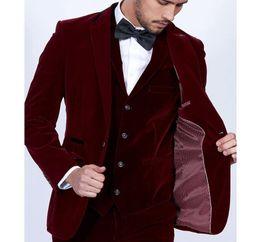 $enCountryForm.capitalKeyWord Australia - 2019 Groom Tuxedos Burgundy Velvet Men Suits 3 Piece Blazer Tailor Wine Red Groom Prom Party Tuxedo(Jacket Pants Vest)