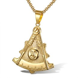 gold compass pendant necklace Canada - Hot Sale Gold Stainless Steel Freemason Past Master Necklace Pendant Masonic Mason Masonry Compass Square Sun Smile Face Pendant Jewelry