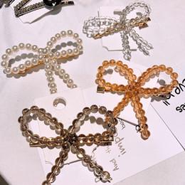 Yellow Barrettes Australia - Cute Bowknot Luxury Hair Clip Women Girls Pearl Designer Duck Clip Barrettes Gift for Love Girlfriend Fashion Hair Accessories