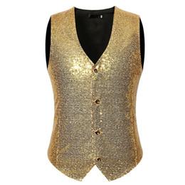 Chinese  Mens Silver Sequin Vests Casual Hippie Rock V Neck Suit Vest Men Wedding Groom Hipster Singer DJ Slim Fit Costume manufacturers