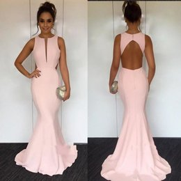 $enCountryForm.capitalKeyWord Australia - Light Pink Jewel Mermaid Cutaway Sides Blackless Evening Dresses Beautiful Cocktail Pageant Gowns Custom Made Evening Gowns