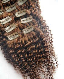 Virgin brazilian hair clip kinky online shopping - Medium Brown Color Brazilian Remy Kinky Curly Hair Clip In Human Hair Extensions Pieces Set G Clip In Hair Extensions