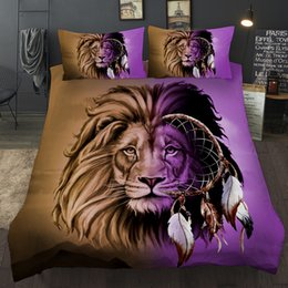 $enCountryForm.capitalKeyWord Australia - BEST.WENSD 100% Quality Lion 3pcs Bedding Set Dream catcher Duvet Cover 3D Boho Bohemia Bed Set Purple Brown Animal Bedclothes