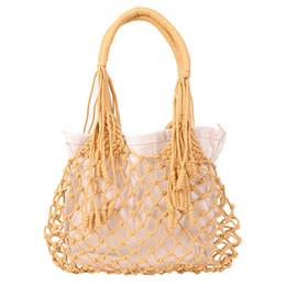 $enCountryForm.capitalKeyWord UK - Summer Beach Bags Cotton Hollow Out Basket Composite Bag Leisure Straw Bag For Girls Women Handbags Mesh Rope Net Bags