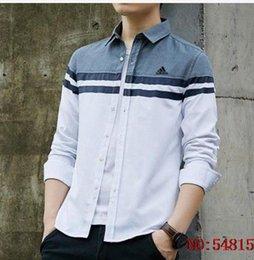 Venta al por mayor de Marca de los hombres Camisetas Moda Cartas Marcas Tops A cuadros Hombres Ropa de manga larga suelta para hombre camisas casuales más el tamaño S-4XL