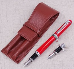 Pink Leather Pen Australia - Duke D2 Red Medium Nib Fountain Pen with 1 PCS Calligraphy Fude Bent Nib & A Leather Pencil Case Bag Interchangeable Writing Set