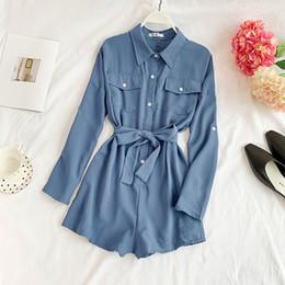 Korean Summer Jumpsuits Australia - Casual Chiffon Playsuit Women Korean Solid Pocket Turn-down Collar Beige Blue Fashion Overall Summer Jumpsuit Y19060501