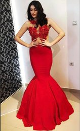 $enCountryForm.capitalKeyWord NZ - 2019 Red Mermaid Glamorous Crew Sleeveless Appliques Prom Gowns Sleeveless Floor Length Custom Made Wedding Party Gown Cheap