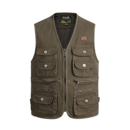 photographers multi pocketed waistcoat vest Canada - Autumn Male Multi Pocket Fabric Cotton Vest Mens Tactical Masculine Outdoor Waistcoat Photographer Reporter Sleeveless Jacket