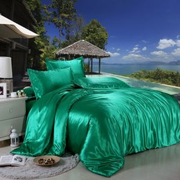LiLac bedding online shopping - Pure ice silk sateen Bedding Sets Good Quality Bed Comforters Sets Flat Solid Color King Size Bedding Sets